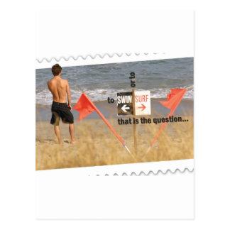 Om te surf of te zwemmen - dat is de vraag briefkaart