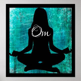 Om Turkoois en Zwarten die de Post van de Yoga Poster