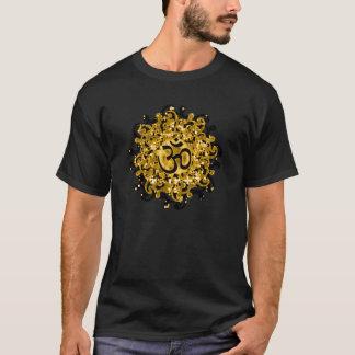 Om van het boeddhisme symbool (zwart/gouden) t shirt