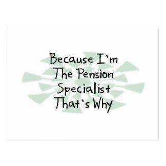 Omdat ik de Specialist van het Pensioen ben Briefkaart