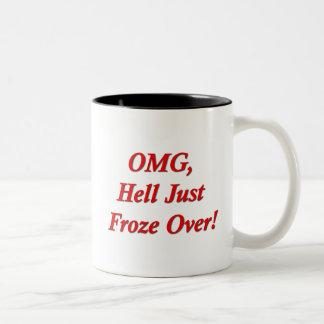 OMG, Hel bevroor enkel over! Tweekleurige Koffiemok