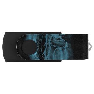 Omgekeerde zijdelings Engel in Zwart en Lichtblauw Swivel USB 2.0 Stick