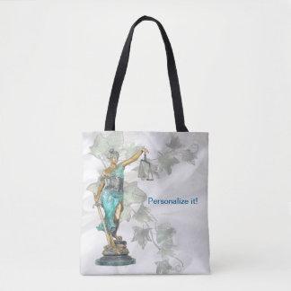 Omkeerbare Dame Justice en 3D Veritas op Blauw Draagtas