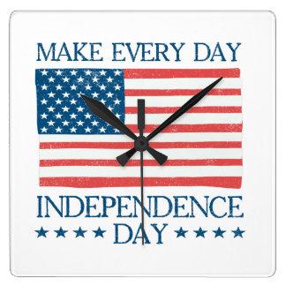 Onafhankelijkheid Dag vierde van Retro Juli Vierkante Klok