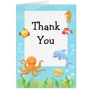 Onder het Baby shower van het Zee dank u kaarden Notitiekaart