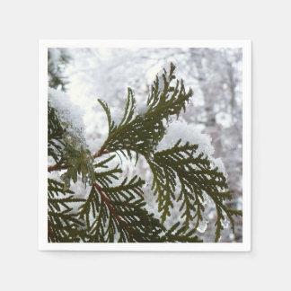 Onderaan de Sneeuw Behandelde Foto van de Winter Papieren Servet