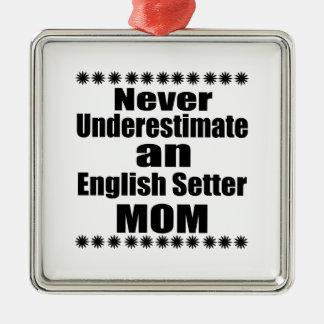 Onderschat nooit het Engelse Mamma van de Zetter Zilverkleurig Vierkant Ornament