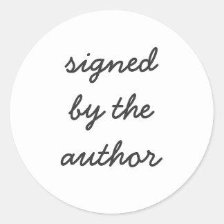 ondertekend door de auteur ronde sticker