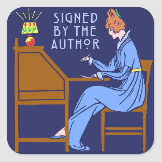 Ondertekend door het Boek die van de Auteur Dame Vierkante Sticker