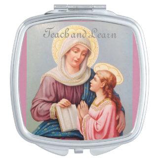 """""""Onderwijs en leer"""" Heilige Anne Compact Mirror Makeup Spiegeltje"""