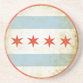 Onderzetter met Verontruste Vlag van Chicago