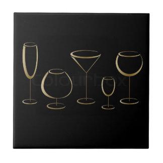 Onderzetters van het Glas van Martini van de wijn Keramisch Tegeltje
