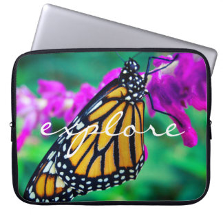 """""""Onderzoek"""" Foto van de Vlinder van de Monarch van Computer Sleeve"""