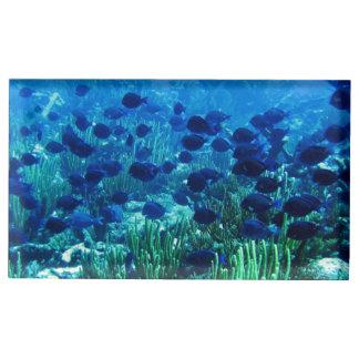 Ondiepte van de Blauwe Vissen van de Discus Tafelkaart Houder