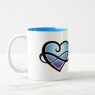 Oneindige liefde tweekleurige koffiemok