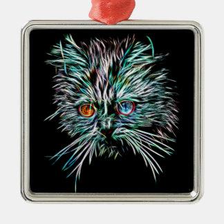 Oneven-Eyed het Gloeien Kat Zilverkleurig Vierkant Ornament