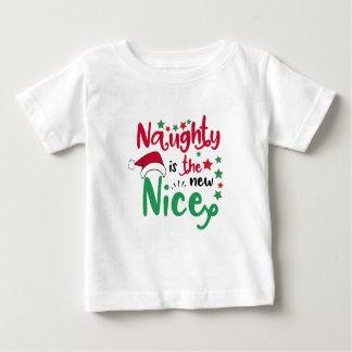 Ongehoorzaam is nieuwe aardige Kerstmis Baby T Shirts