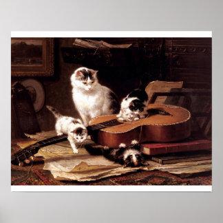 Ongehoorzame katjes die gitaar spelen poster