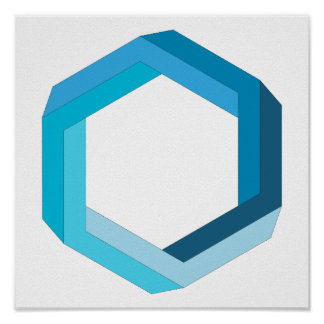 Onmogelijke meetkunde: Blauwe zeshoek Poster