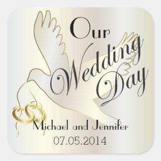 Ons Huwelijk Gepersonaliseerde Dag | Vierkant Sticker