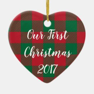Ons Ornament van Eerste Kerstmis in de Plaid van