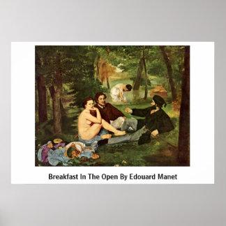 Ontbijt in Open door Edouard Manet Poster