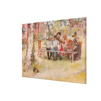 Ontbijt onder de Grote Berk door Carl Larsson Canvas Print