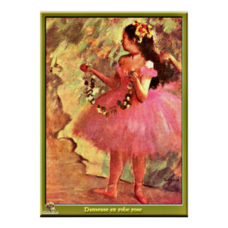 Ontgas - Danser in Roze kleding-1880 Poster
