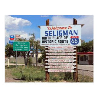 Onthaal aan Seligman Route 66 Briefkaart! Briefkaart