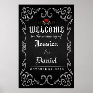 Onthaal aan van het Huwelijk van Halloween het Poster