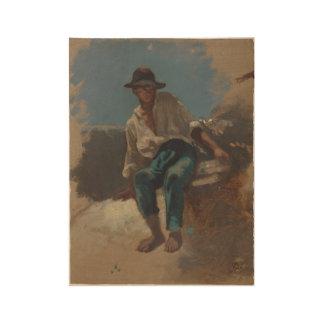 Ontmoet jongeman van Zittende vilten geschoffelde Houten Poster