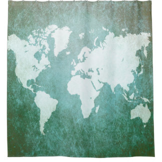 Ontwerp 55 wereldkaart douchegordijn