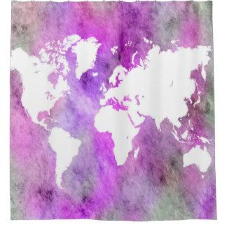 Ontwerp 61 Paarse de Kaart van de Wereld Gordijn 0