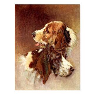 Ontwerp van de Kunst van de Honden van het spaniel Briefkaart