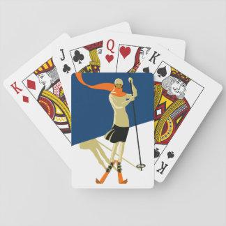 ontwerp van de Skiër van jaren '20 het Vintage Pokerkaarten