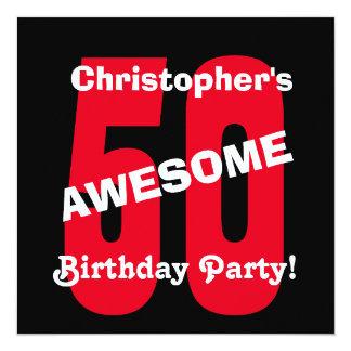 ontwerp van de Tekst van de 50ste Verjaardag het 13,3x13,3 Vierkante Uitnodiging Kaart