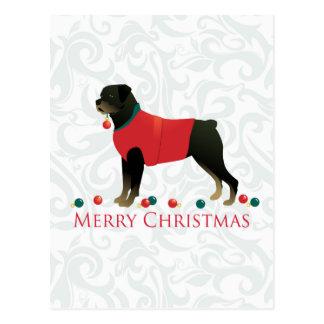 Ontwerp van Kerstmis van Rottweiler het Vrolijke Briefkaart