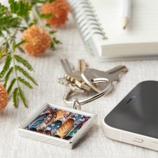 Ontwerpers zilveren Keychaine met Veren Zilverkleurige Vierkante Sleutelhanger