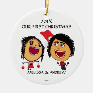 Onze Cartoon van Eerste Kerstmis Rond Keramisch Ornament
