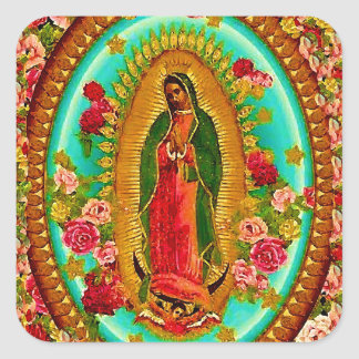 Onze Dame Guadalupe Mexican Saint Virgin Mary Vierkante Sticker