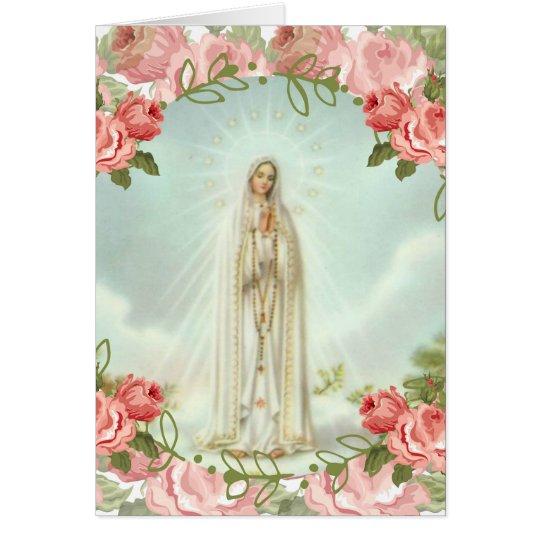 Onze Dame van Fatima Pink Roses Wenskaart