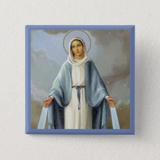 Onze Dame van Gunst Maagdelijke Mary Vierkante Button 5,1 Cm