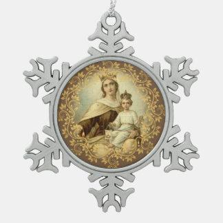 Onze Dame van het Baby Jesus Scapular van Carmel Tin Sneeuwvlok Ornament