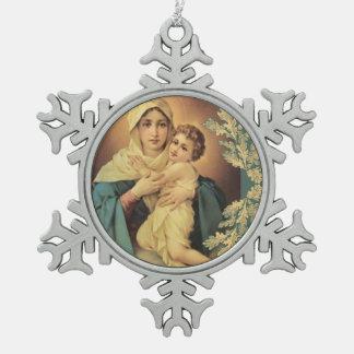 Onze Dame van Schoenstatt Baby Jesus Tin Sneeuwvlok Ornament