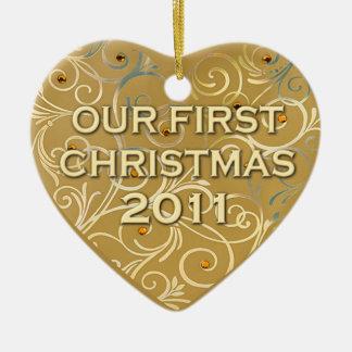 Onze Eerste Kerstmis 2011 Keramisch Hart Ornament