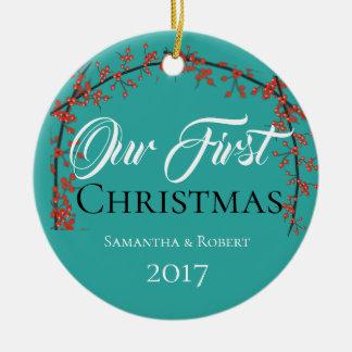 Onze Eerste Kerstmis - Naam & Datum - Rond Keramisch Ornament