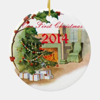 Onze Eerste Kerstmis Rond Keramisch Ornament