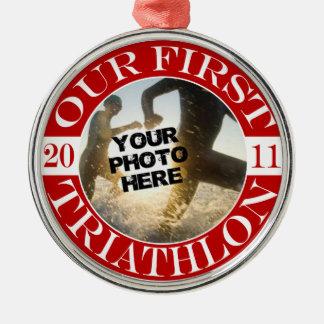 Onze Eerste Triathlon - 2011 Zilverkleurig Rond Ornament