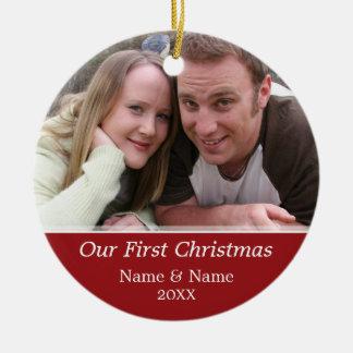 Onze Foto van Eerste Kerstmis - kies Opgeruimd uit Rond Keramisch Ornament