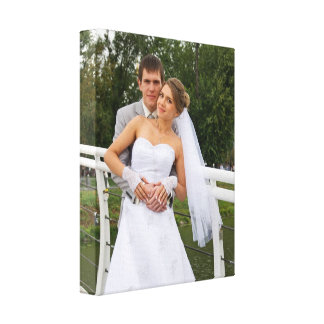Onze foto van het huwelijksdag gepersonaliseerde canvas afdruk